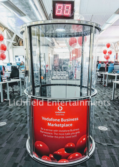 Ball-Nado Cash Cube Exhibition Stand Game Hire.