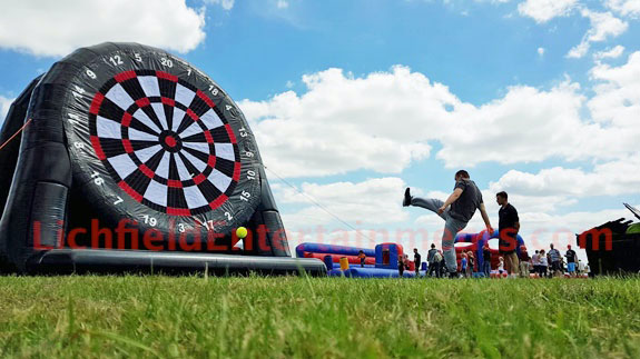 Giant Football dartboard game for hire from Lichfield Entertainments UK