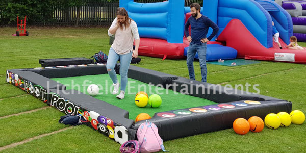 Footpool game for hire nationwide. A cross between football and pool