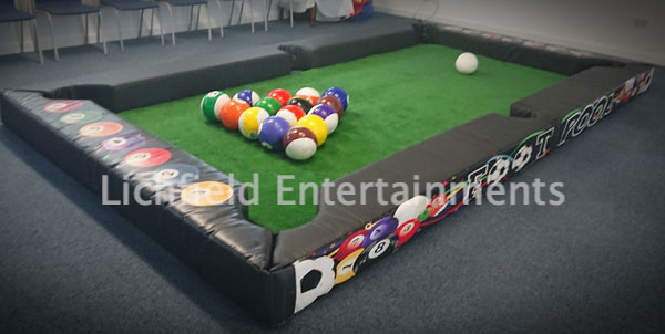 Footpool game for hire in the Midlands. A great cross between football and pool