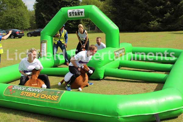 Hopper horse racing inflatable game for hire with jumps