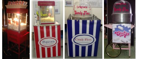 Popcorn and Candyfloss machines and carts for hire