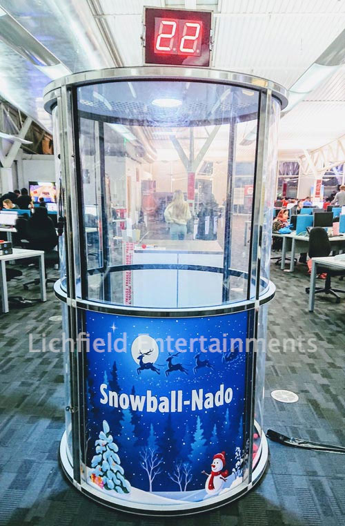 Christmas Snowball-Nado wind tunnel game for hire from Lichfield Entertainments UK
