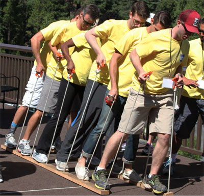 Company sports day games hire - Team Centipede Ski Racing.