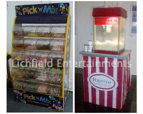 Popcorn, candy floss, and pick n mix for weddings